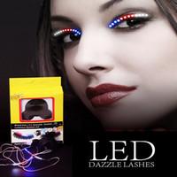 ses kontrolü toptan satış-Ses kontrol Dazzl LED Kirpik Işık 12 Renk Unisex Yanıp Söner İnteraktif Değişen LED Yanlış Lashes Shining Eyeliner Parti için Mükemmel