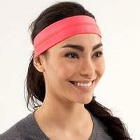 Wholesale Top Girl Hair - Fashion Women Brand Gym Headbands 4 Colors Free Size Lulu with Logo Yoga Hairbands Running Sports Girls Elastic Solid Hair Accessories