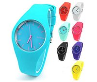 Wholesale geneva red sports watch online - Fashion Candy Color Geneva Silicone Watch Analog Unisex Casual Watches Candy Color Men Women Jelly Sports Wrist Watches