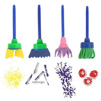 Wholesale Kids DIY Painting Tools Drawing Toys Flower Stamp Sponge Brush Set Art Supplies Set