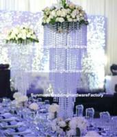 araña de cristal acrílico con cuentas al por mayor-Araña de acrílico de lujo Crystal Flower Stand Crystal Beaded Wedding Hall Pillar para decoración de bodas