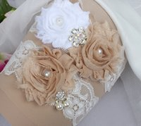 Wholesale vintage lace bridal garters - In Stock 2pcs White Champagne Lace Wedding Garter Handmade Flower Rhinestones Vintage Lace Wedding Bridal Leg Garters Free Shipping