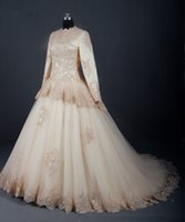 Wholesale Black Sequin Skirt Small - Small Round Neck Long Sleeves Muslims Champagne Layered Lace Decals Smearing Bride Mother Wedding Dress Cheap Customization bead A line Wed