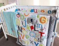Wholesale Quilt Ruffle - 8 Pieces Baby Bedding Set Newborn Crib Blanket Embroidery Cartoon Elephant Nursery Crib Bumper Quilt Fitted Sheet Dust Ruffle