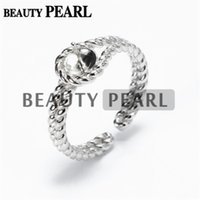 Wholesale pearl silver jewellery - Bulk of 3 Pieces Twisted Band Ring Findings 925 Sterling Silver DIY Jewellery Making Pearl Mount
