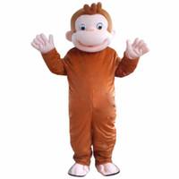 yetişkin fantezi halloween maymun kıyafeti toptan satış-Yeni Stil Meraklı George Maymun Maskot Kostümleri Karikatür Fantezi Elbise Halloween Party Kostüm Yetişkin Boyutu Ücretsiz Kargo