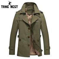 Wholesale Hot Men Trench Coats Slim - Wholesale- 2017 Men's New Arrival Classic Casual 4 Colors Trench Coat Slim Fit Spring & Autumn Male Hot Selling Asian Size Jacket MWF226