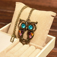 Pendant Necklaces block necklace - 2017 new arrival Retro Vintage Color Necklace Block Drill Hollowing Carved Cute Owl Pendant Necklace Jewelry Gift