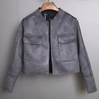 Wholesale Vintage Leather Jackets For Women - Wholesale- 2016 Popular Faux Deerskin Women Short Jacket Fashion Autumn Slim windproof vintage Chamois Leather Suede jacket For Ladies