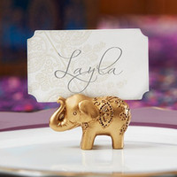Wholesale Gold Wedding Place Card Holders - Golden Gold Lucky Elephant Place Card Holder Holders Name Number Table Place Wedding Favor Gift Unique Party Favors LLFA