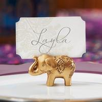 ingrosso titolari di carta di posto elefante oro-Golden Gold Portafortuna Lucky Card Titolari Titoli Nome Numero Tavolo Luogo Bomboniera Regalo Bomboniere uniche LLFA
