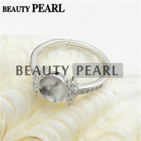 Wholesale Bulk Pearls - Bulk of 3 Pieces Ring Findings Clear Cubic Zirconia 925 Sterling Silver for DIY Pearl Ring Mount