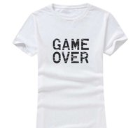 camisa de los hombres sobre la impresión al por mayor-Game Over 2017 Nueva Ropa de Moda Mujeres / Hombres Algodón O Cuello de Manga Corta de Impresión Casual Camisetas sueltas Personalizadas únicas Tees Al Por Mayor