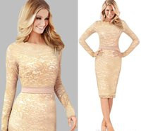 Wholesale Kate Middleton Sheath Dress - Vestidos de fiesta Autumn Elegant Lace Ladies Pencil Dresses Sheath Bodycon Plus Size Casual long sleeve Kate Middleton Dress fs0765