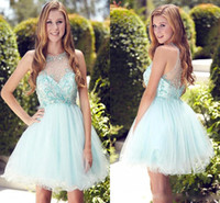 Wholesale Teen Knee Length Party Dresses - 2017 Light Sky Blue Mini Short Homecoming Dresses Sheer Neck Crystals Beaded A Line Chiffon Cocktail Formal Teens Party Dress