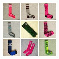 Wholesale Women Long Cotton Socks - Love vs Pink Socks Fashion Women Cheerleader football baby Sports Sock Victoria Knee High Long Socks Sports socks secrets sock Mixed Color