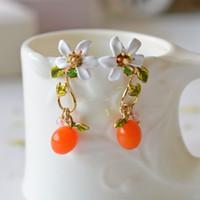 Wholesale Orange Blossom Flower - Les Nereides Enamel Glaze Paris Fresh Natural White Orange Blossom Flowers Gem Women Long Stud Earrings