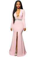 Wholesale Jeweled Cap Sleeve Pink Dress - Hollywood Black Jeweled Waist Front Slit Gown 2017 Sexy African Long Sleeve V-neck Crystal Beaded Mermaid Evening Party Dresses