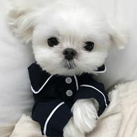 Wholesale Wholesale Supply Clothing - Small Dog Supplies Apparel V Secret Pet Puppy pajamas button Black White Blue Pink Clothes poodle Bichon Frise bulldog Softfeeling Shirts