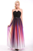 Wholesale strapless gradient prom dress for sale - Group buy 2017 Long Evening Dresses Gradient Chiffon Pleated Floor Length Cheap Formal Prom Party Runaway Dress Ombre Prom Dresses Cheap In Stock