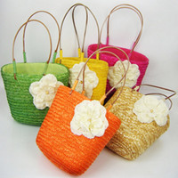 Wholesale Camellia Shoulder Bags - Girls Handbag Big Camellia Flower Rattan Straw Bag Sunflower Woven Bags Big Girl Beach Messenger Bag 5colors Tote Shoulder Design Bags C1022