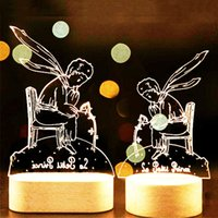 Wholesale Novelties Night Light - Romantic 3D LED Little Prince Fox Rose Night Lamp Wood Base Light Color Change LED Table Desk Novelty Kids Birthday Gifts