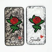 Wholesale Embroidery Cases Iphone - for Iphone x Lace Embroidery Rose PC Hard Back Phone Case for Iphone 6 6plus 7 7plus 8 8plus