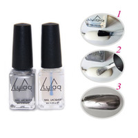 Wholesale Nail Art Polish Varnish Tips - Wholesale- LULAA 2pc lot Behind Silver Mirror Effect Metal Nail Polish Varnish Base Coat Metallic Nails Art Tips DIY Manicure Design