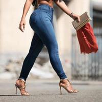 Wholesale Ladies Plaid Pants - Wholesale- Womens Ladies Jeans Pencil Pants High Waist Jeans Sexy Slim Elastic Skinny Pants Trousers Fit Lady Jeans S M L XL