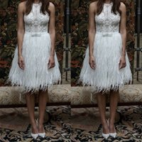 Wholesale Cheap Formal Dresses Feathers - White Prom Dresses Women Cheap Lace Feather Proms Dress Jewel Neck Knee Length A Line Formal Gowns With Beads