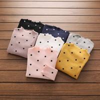 Wholesale Girls Cloting - Girls autumn cotton cloting children polka dots printed long sleeve T-shirt kids stripe ruffle collar tops girl princess pullover T3806