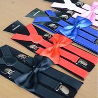 danksagungs-krawatten für männer großhandel-Erwachsenen Hosenträger + Fliege Set 28 Farbe Hosenträger Elastic Y-back Männer Frauen Clip-on Zubehör für Thanksgiving Day Weihnachtsgeschenk