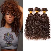 Wholesale chestnut brown hair weave online - Virgin Malaysian Deep Wave Human Hair Bundles Color Light Chestnut Brown Hair Weaves Curly Extensions Dhl Free