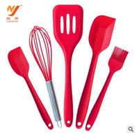 Wholesale Spatula Shovel - Bakeware Set Silicone 5pcs  lot Kitchen Tools Utensils 1 Brush+1 Egg beater + 2 Spatulas +1 Drain Shovel Kitchen Cooking Baking Accessories