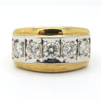 Wholesale Estate Ring Yellow Gold - Estate Vintage Men's 14K Yellow Gold Round Diamond Band Wedding Ring