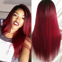 Wholesale Human Red Lace Wig - 1B 99J front lace wigs 130% density silky straight ombre red human hair glueless full lace wigs with baby hair for black women