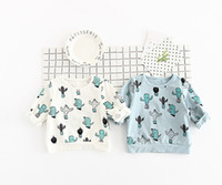Wholesale Boys Collared T Shirt - INS NEW ARRIVAL boys girl Kids t shirt long Sleeve cactus print round collar T shirt kids causal 100% cotton girl kids all match t shirt