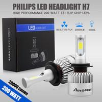 kiriş beyazı toptan satış-2 adet 200 W 20000LM H7 Su Geçirmez LED Lamba Far Kiti Araba Işın Ampuller 6000 K Beyaz Ücretsiz Kargo