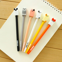 Wholesale Animal Ink Pens - 36 Pcs Lot Cute Animal Gel Ink Pen Candy Color Cat Dog 0.5mm Ballpoint Pens Stationery Office Material School Supplies