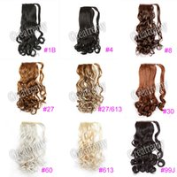 "Wholesale Curling Wand For Hair - Greatremy 22"" Long Wavy Wrap Around Ponytail Hair Extension Synthetic for Girls 12Colors #1B#16#27#27 613#30#33#4#6#60#613#8#99J New Arrival"