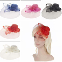 Wholesale Mesh Hat Clip - new Elegant women Mesh Fascinator Hat hair Clips Wedding Party Women Bridal Hair Accessory