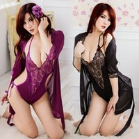 Wholesale Dressing Gowns Sexy Women Satin Lace Robe Sleepwear Lingerie Nightdress Freeshipping