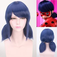 Wholesale Short Blue Cosplay Wigs - Miraculous Ladybug Wigs Peluca Marinette Girls Women Cosplay Double Ponytail Braids Short Straight Wig Blue Hair