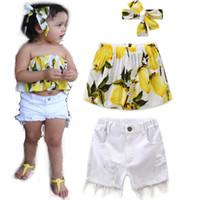 Wholesale Square Trim - INS children princess outfits girl cotton print lemon dew shoulder tops+hollow out fur-trimmed shorts+hair band 3pcs sets kids clothes C0447