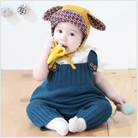 Wholesale Infant Wool Sweater - 2017 New Spring Autumn Infant Baby Sleeveless Knitted Rompers Toddler Sweater Suspender Pants Kids Overalls Jumpsuits Boys Girls One-Pieces