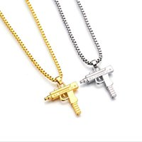 Wholesale Black Gun Charms - 2017 HOT Hip Hop Necklaces Engraved Gun Shape Uzi Golden Pendant High Quality Necklace Gold Chain Popular Fashion Pendant Jewelry