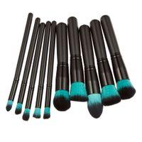 Wholesale Makeup Powder For Black Woman - Professional 10Pcs Makeup Brush Set Powder Foundation Brush Eyebrow Eyeshadow Cosmetic Make Up Tools Toiletry Kit for Women