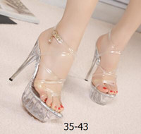 Wholesale Sexy Blue Crystal Shoes - hot sell 2017 Women High Heel Sandals Sexy Crystal Transparent Women Shoes Fish head High Platform 14cm Shoes Large Size 35-43