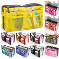 Wholesale travel bag inserts - 13 Colors Dual Bag In Bag Women Insert Handbag Organizer Purse Makeup Case Storage Liner Bag Tidy Travel Insert Storage Bags CCA6643 10pcs