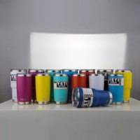 oz logos - DHL New Style oz colors YETI Cups LOGO Stainless Steel Beer Wine Glass Drinkware Travel Vehicle Beer Mugs With Lid